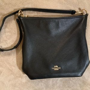Black Leather Hobo Coach Bag